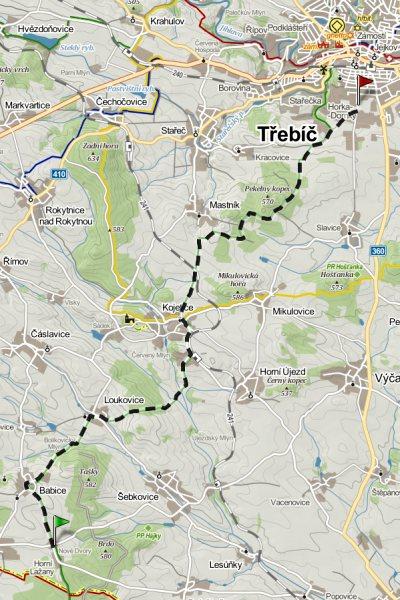 Budějovice - Třebíč, zelená TZ