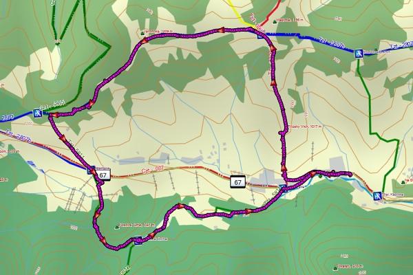 Trasa Magura podle GPS