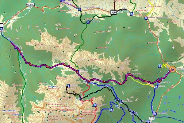Přechod hřebene přes Kopské sedlo, mapa z GPS