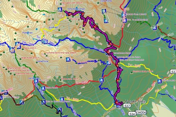 trasa podle GPS