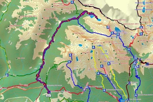 Mapa trasy podle GPS