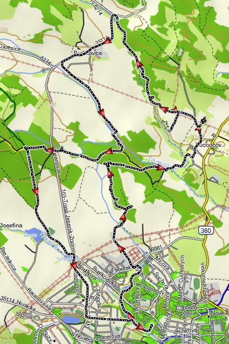 mapka trasy 14km (ve skutečnosti 18km)